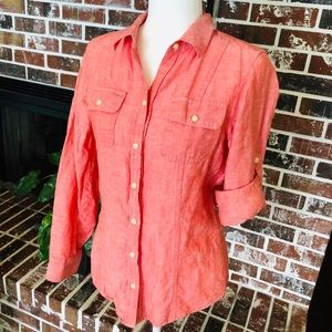 Banana Republic 6 pink salmon linen Shirt
